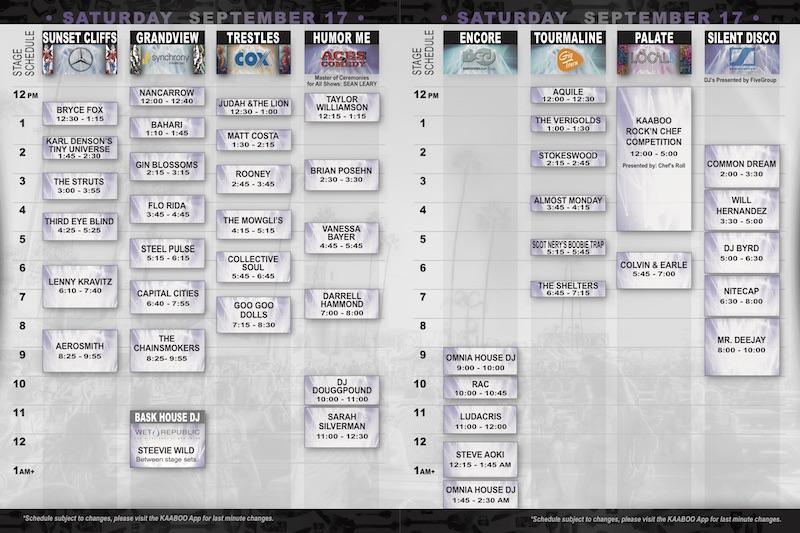 KAABOO 2016 Schedule Saturday
