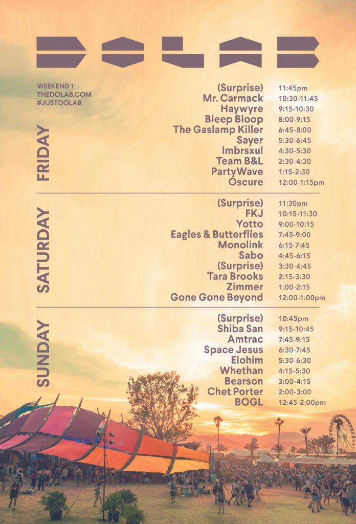 Coachella 2017 DoLaB Weekend 1 Set Times