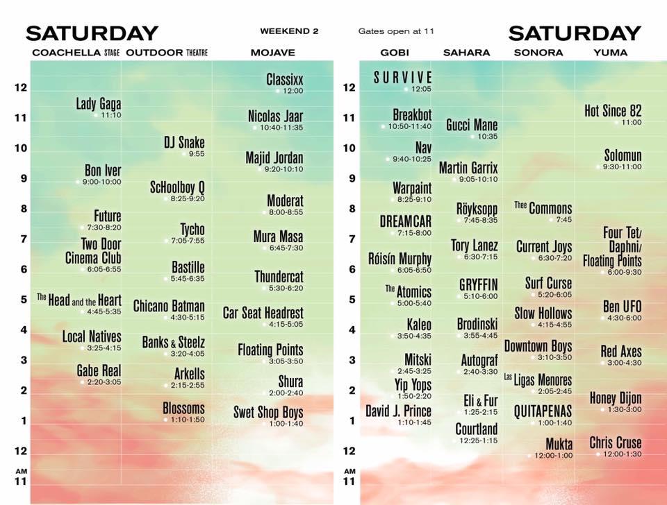 Coachella 2017 Wknd 2 Set Times - Saturday