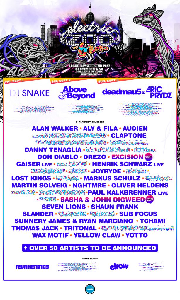 Electric Zoo: The 6th Boro Phase One Lineup