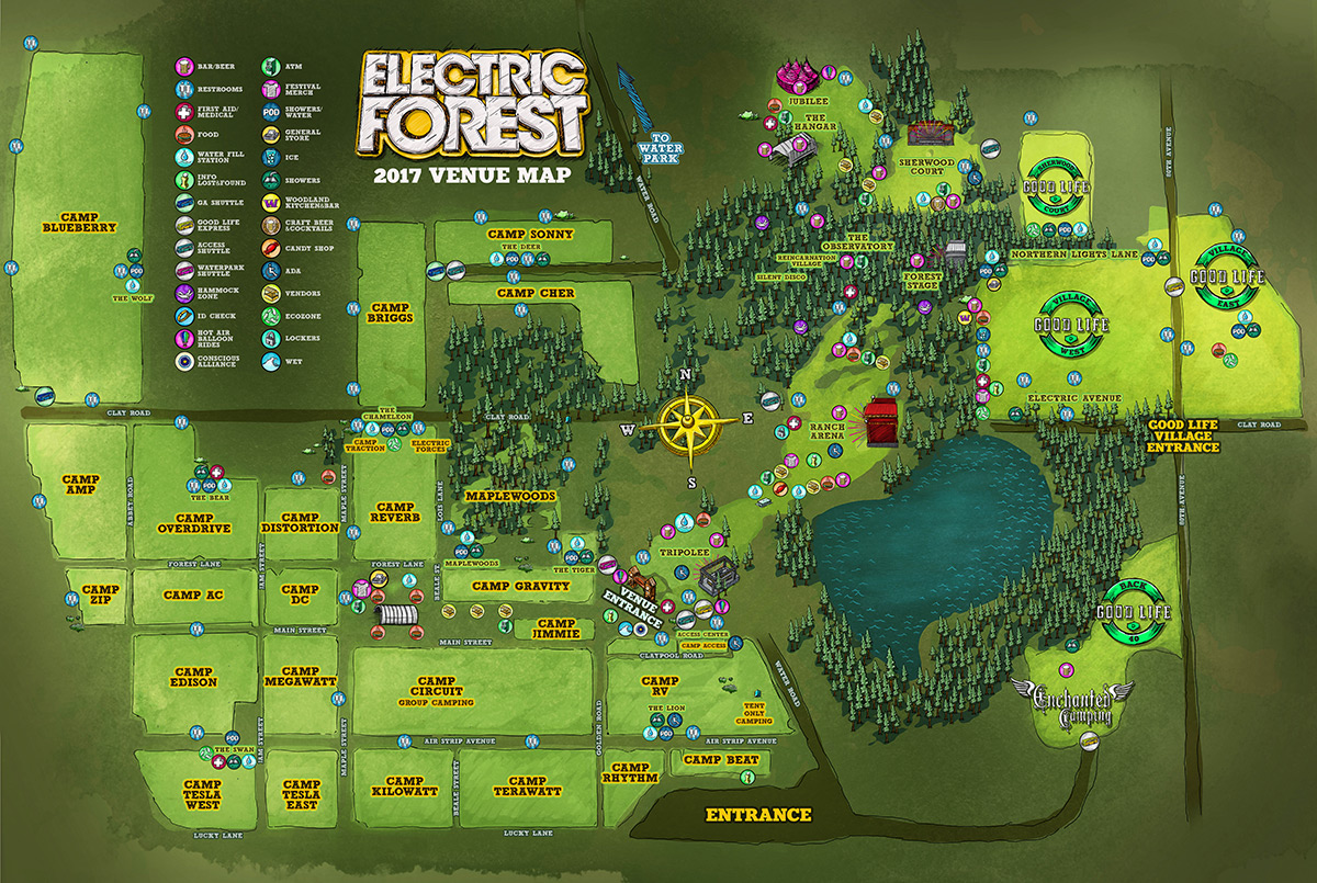 Electric Forest Map Electric Forest 2017 Overhead Map | EDM Identity