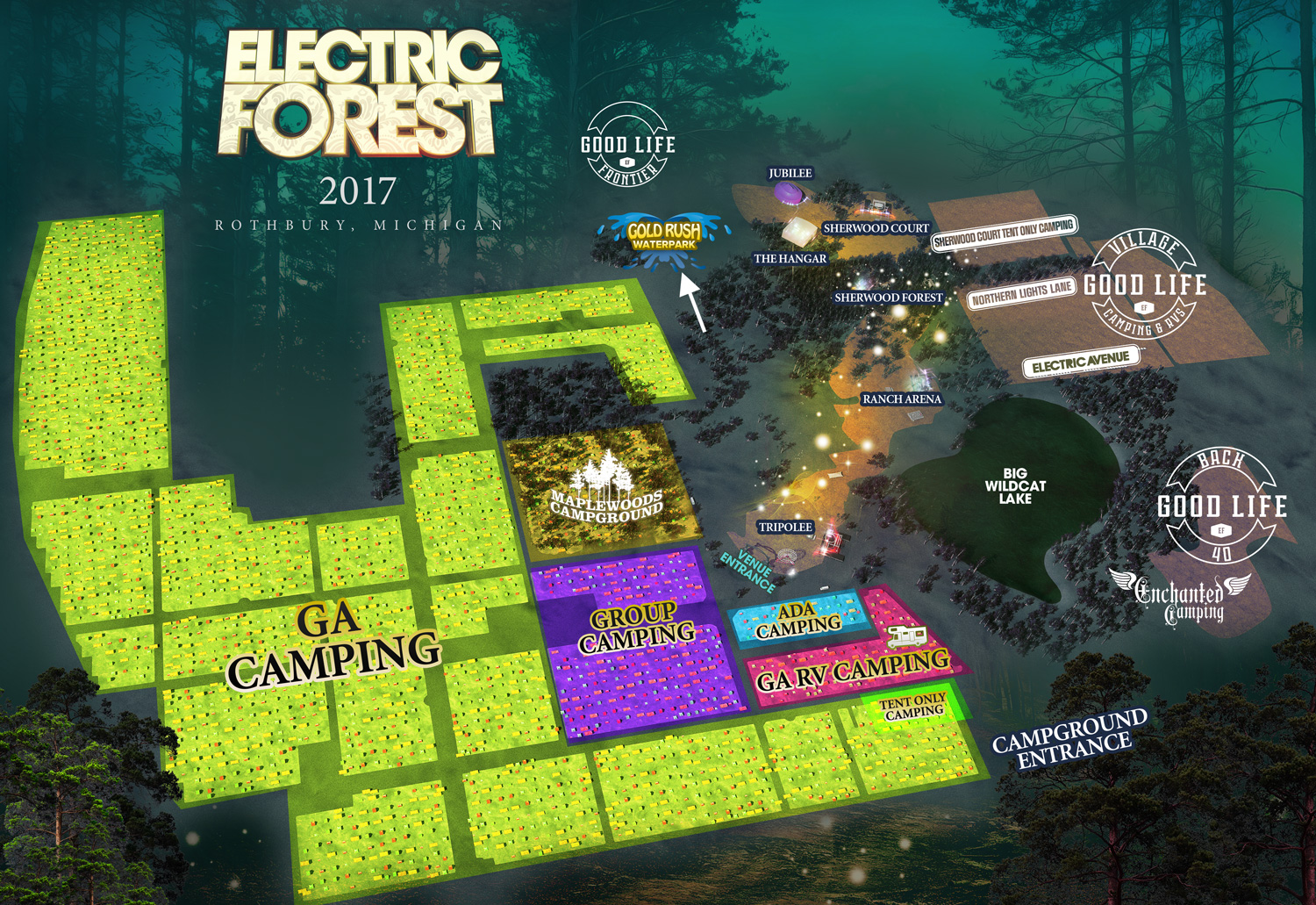 Electric Forest Map Electric Forest 2017 Lodging Map | EDM Identity