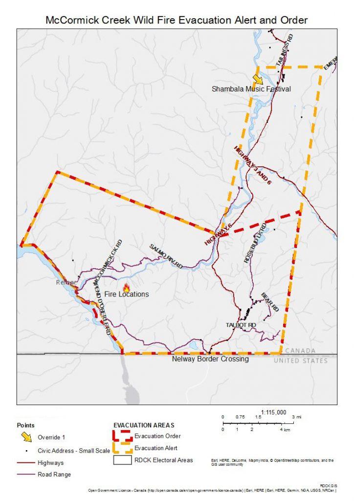 Shambhala Evacuation Alert Map