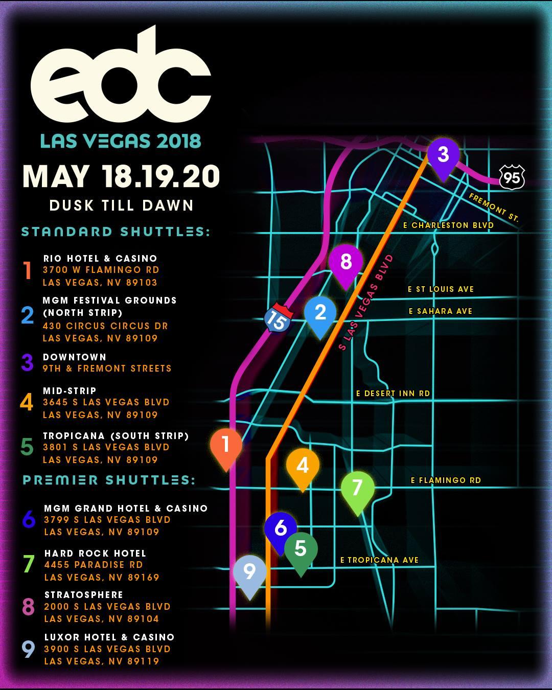 EDC Las Vegas 2018 Shuttle Routes NEW