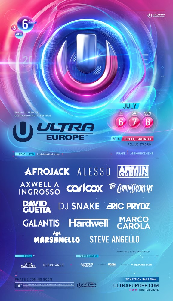 Ultra Europe 2018 Phase 1 Lineup
