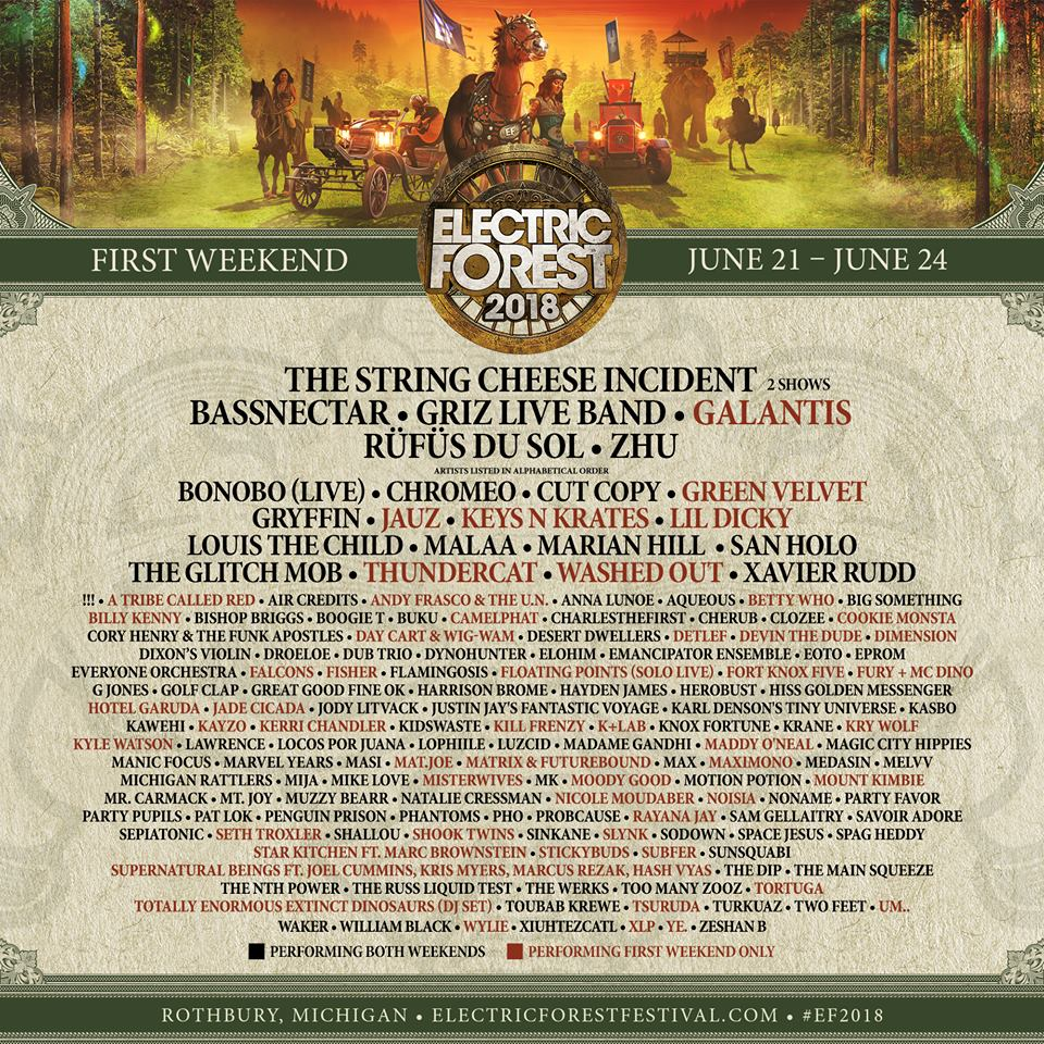 Electric Forest 2018 Weekend 1 Lineup Phase 2