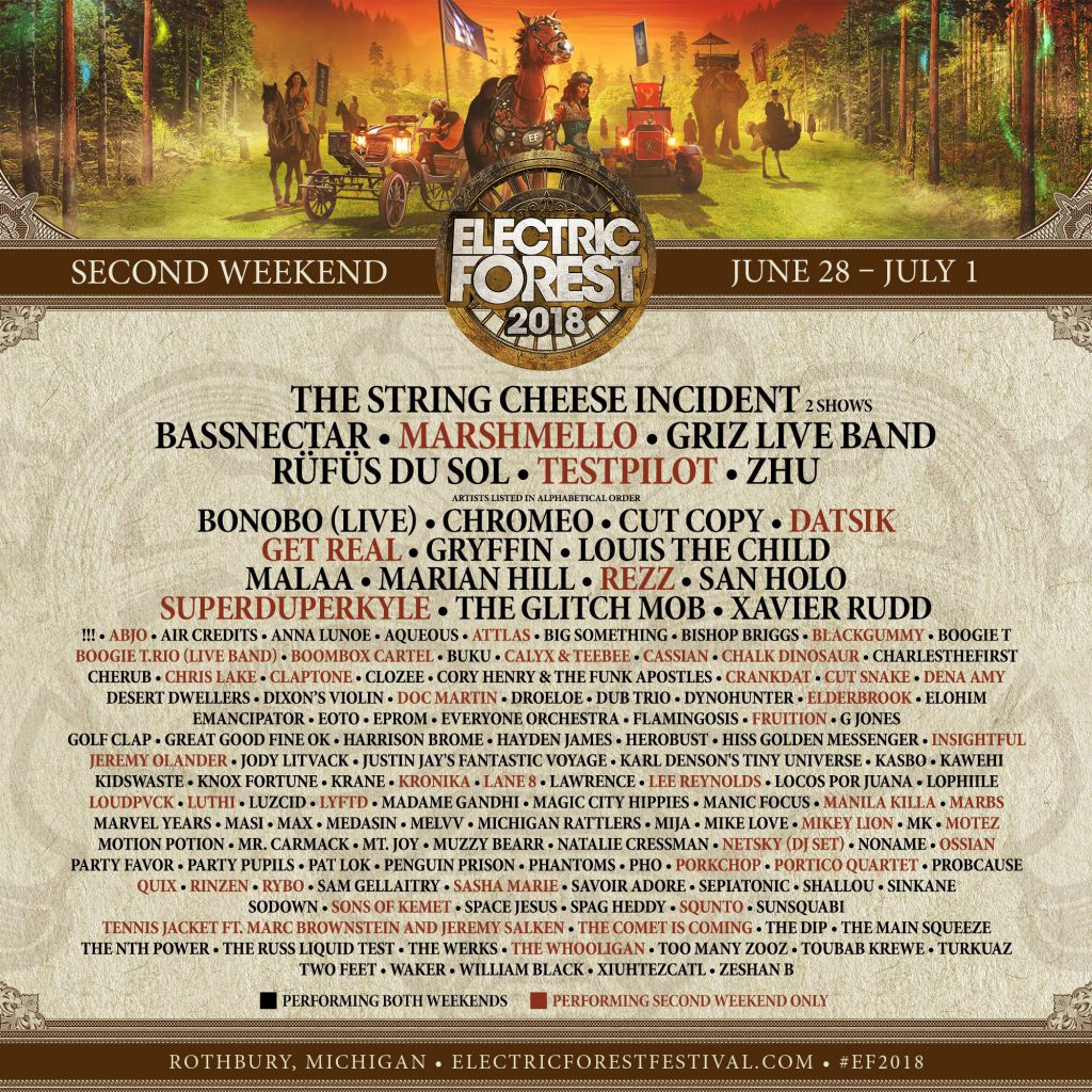 Electric Forest 2018 Weekend 2 Lineup Phase 2