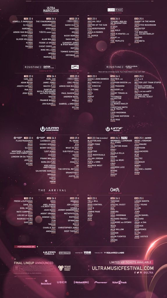 Ultra Music Festival 2018 Set Times