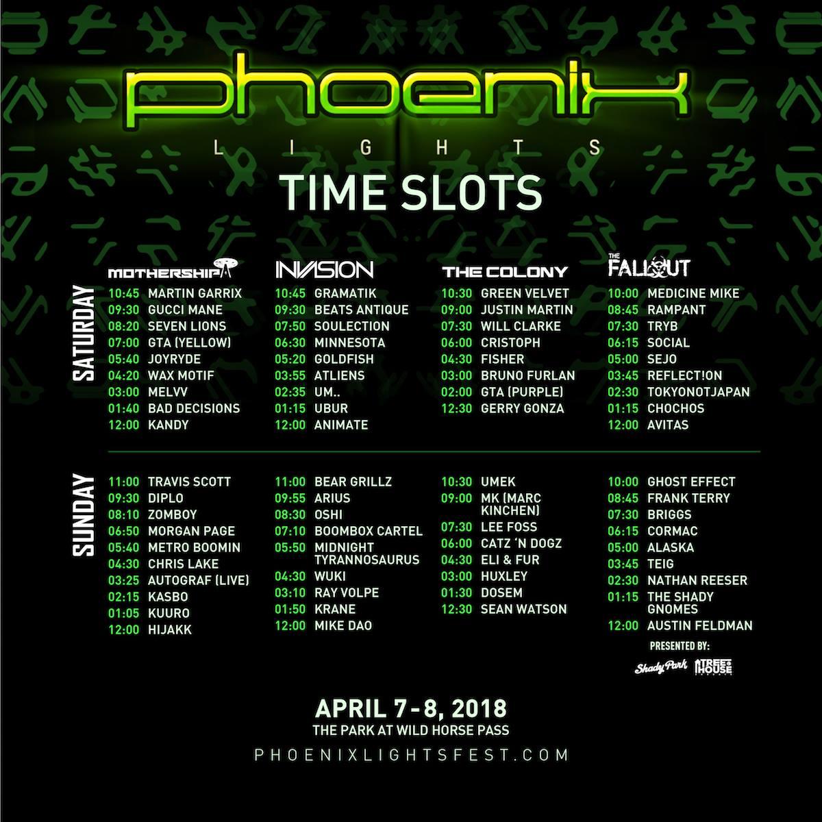 Phoenix Lights Festival 2018 Set Times