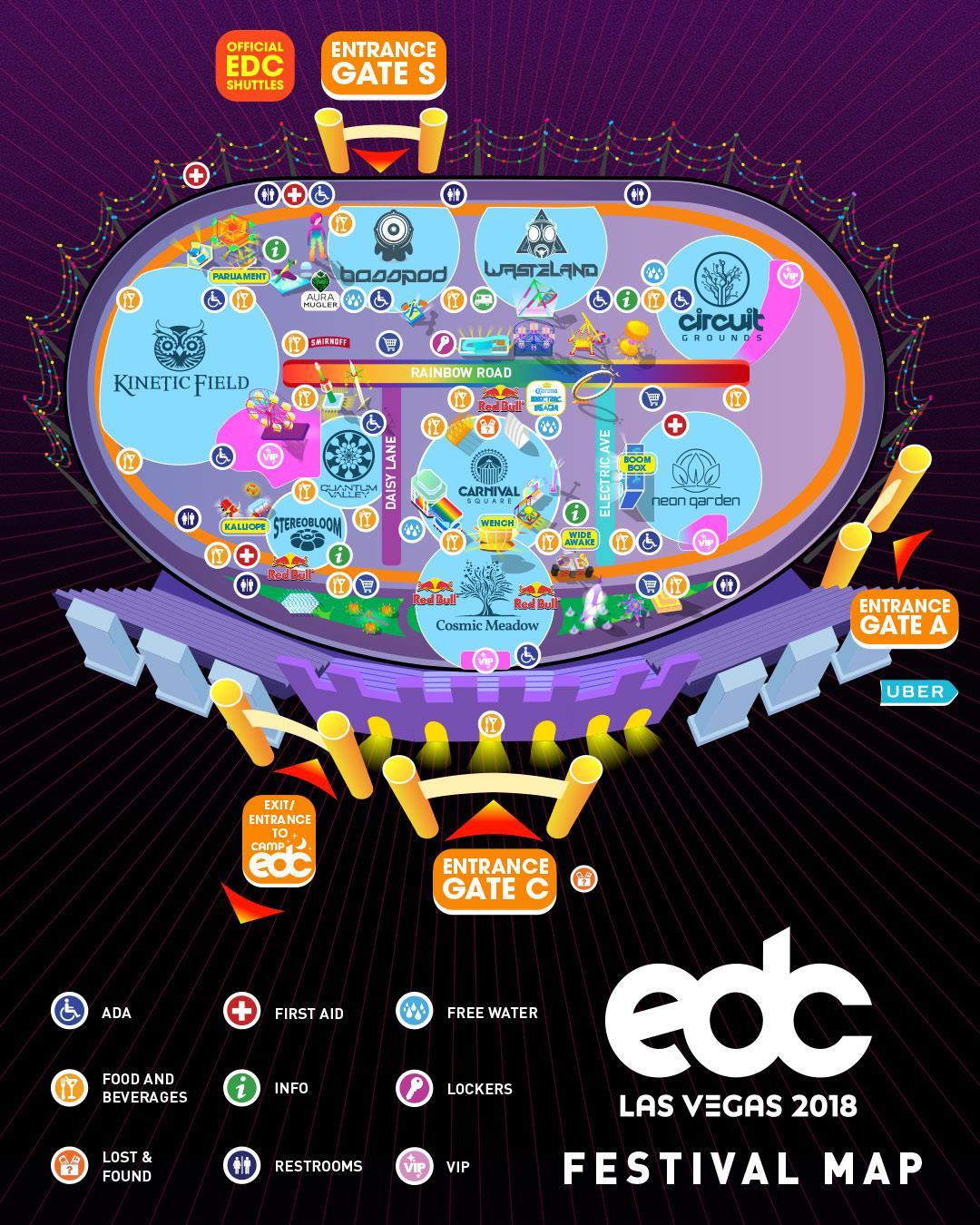 EDC Las Vegas 2018 - Festival Map