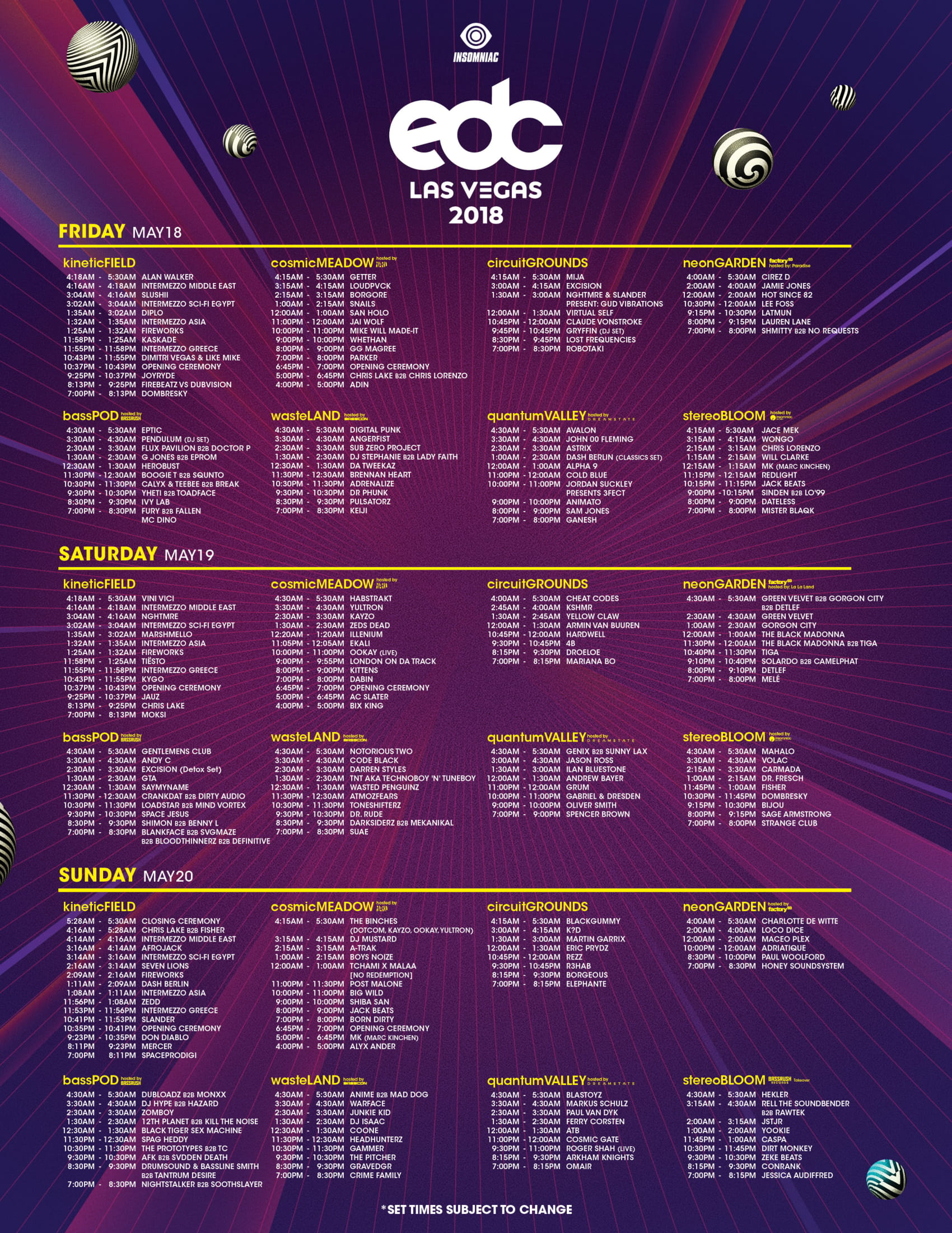 EDC Las Vegas 2018 Set Times