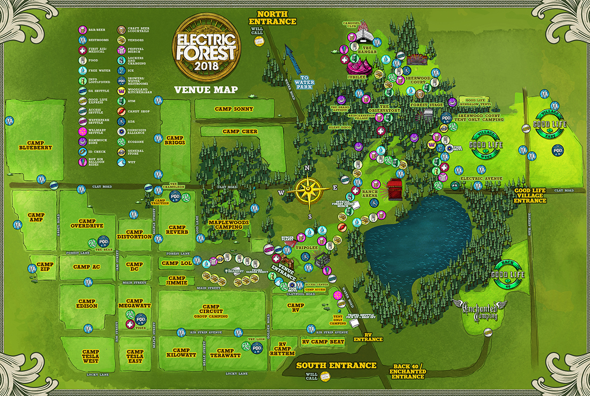 Electric Forest Map Electric Forest 2018 Festival Map | EDM Identity