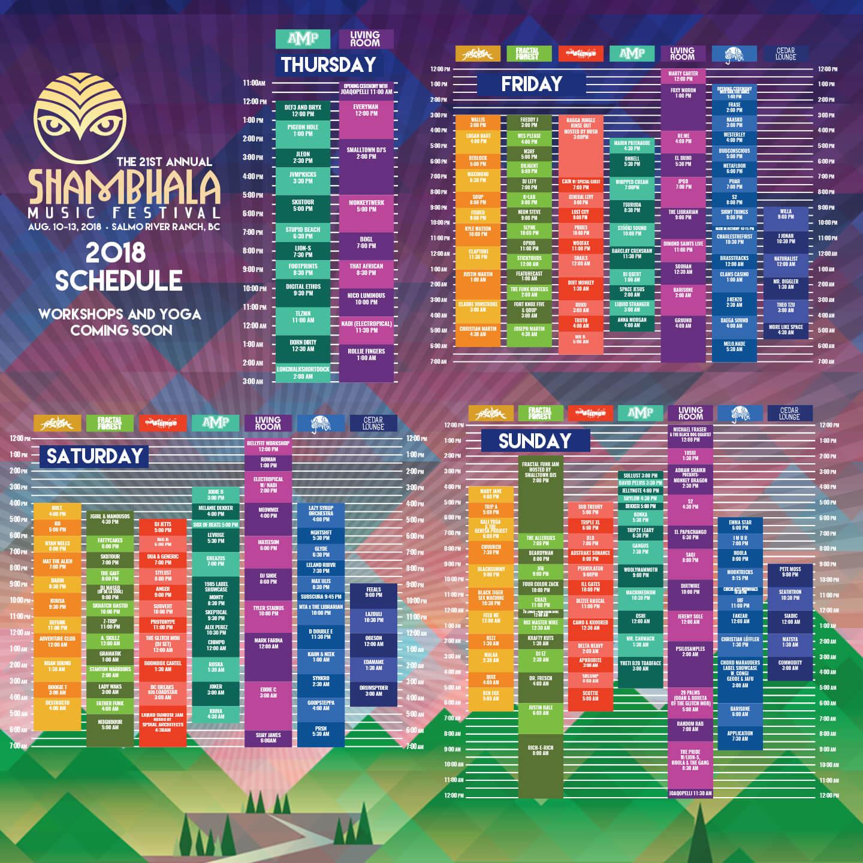 Shambhala 2018 Set Times