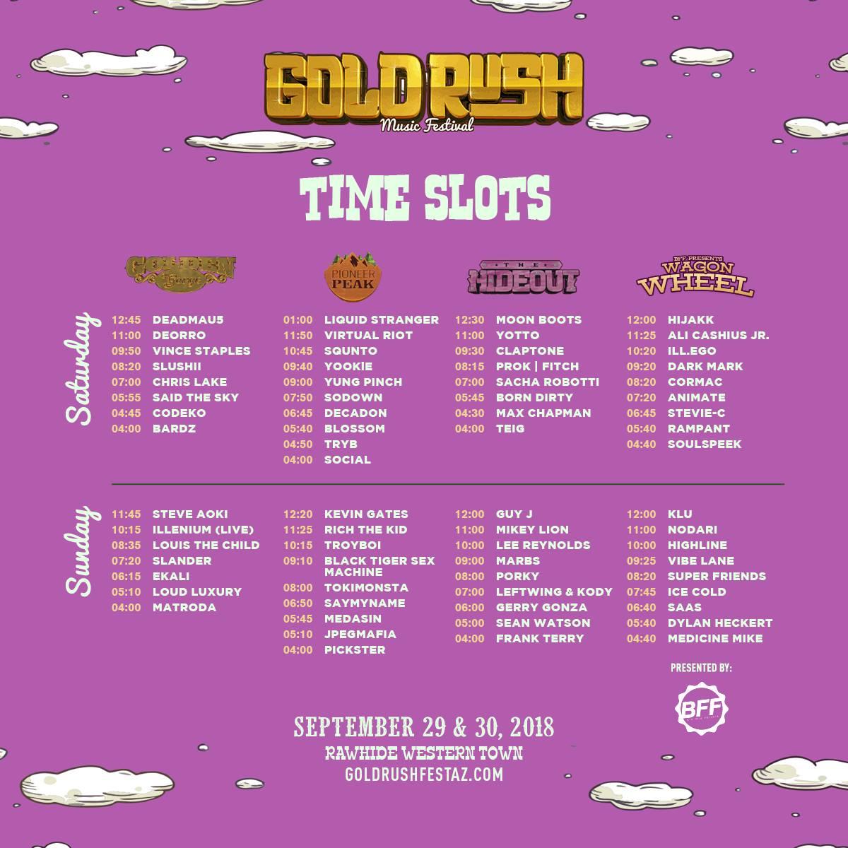 Goldrush Music Festival 2018 Set Times