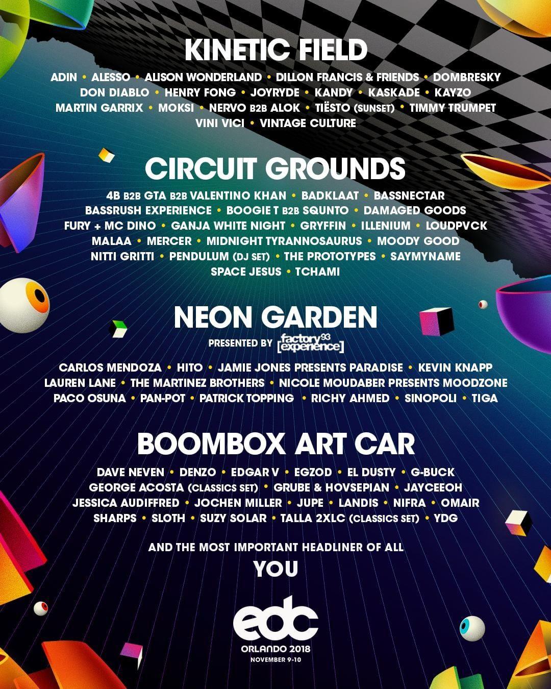 EDC Orlando 2018 Lineup By Stage | EDM Identity