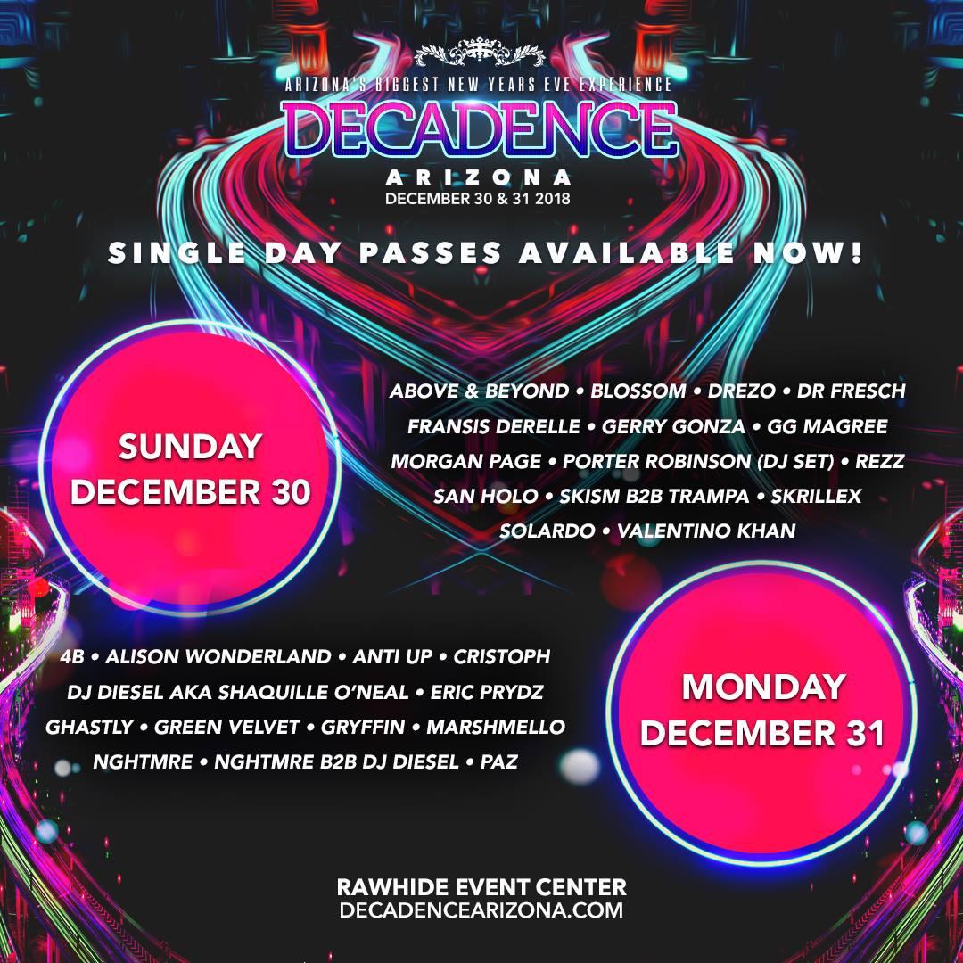 Decadence AZ 2018 Lineup By Day