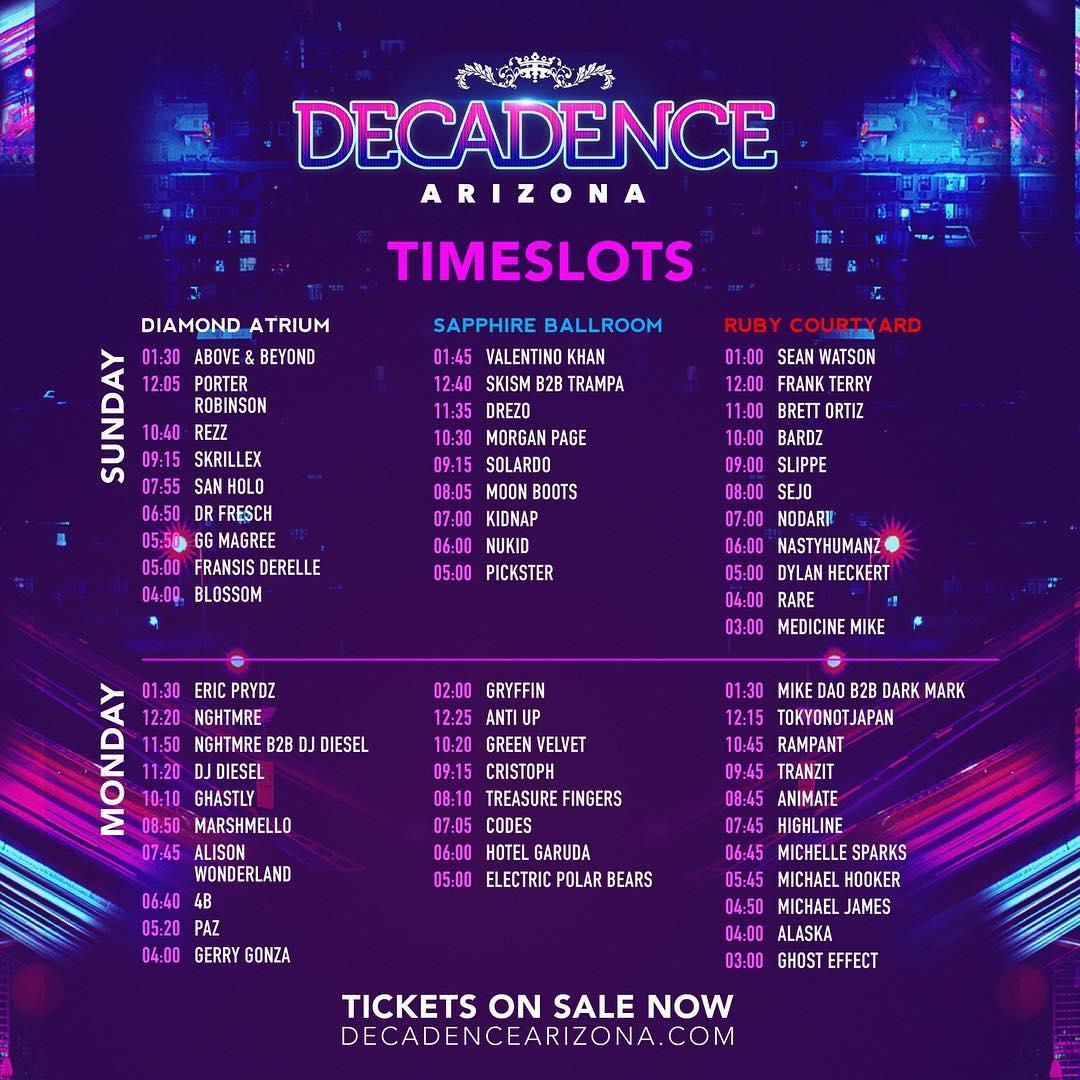 Decadence AZ 2018 Set Times
