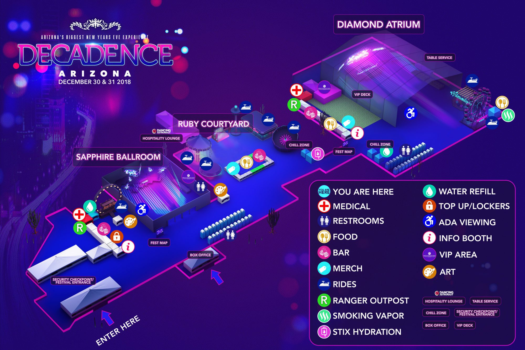 Decadence AZ 2018 Festival Map