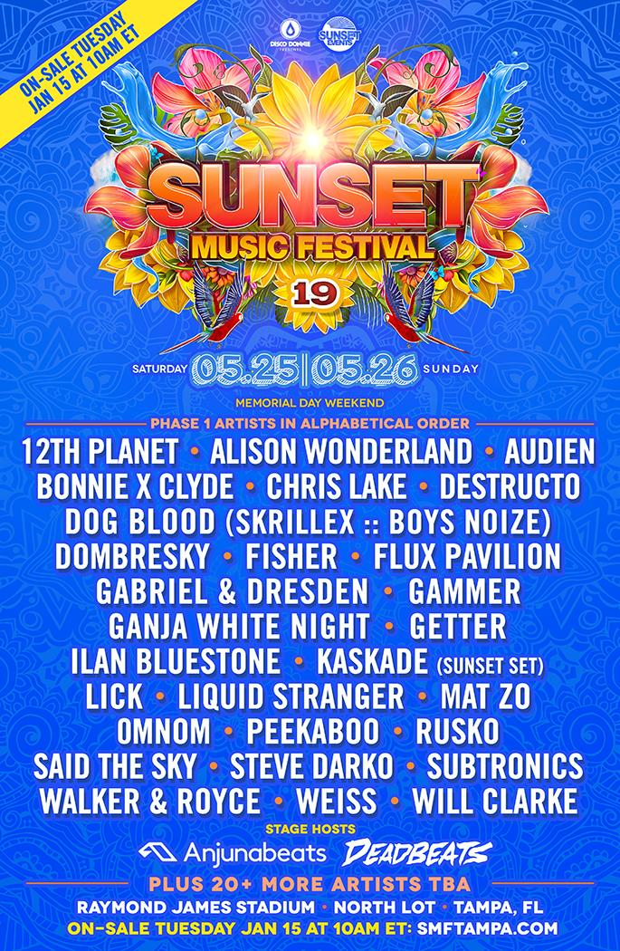 Sunset Music Festival 2019 Phase 1 Lineup