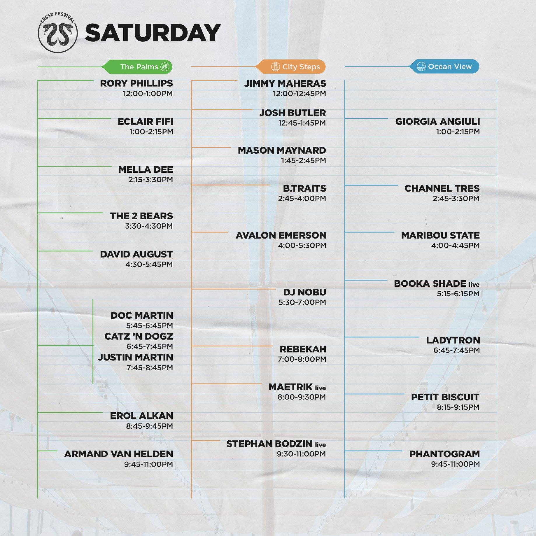 CRSSD Festival Spring 2019 Set Times - Saturday