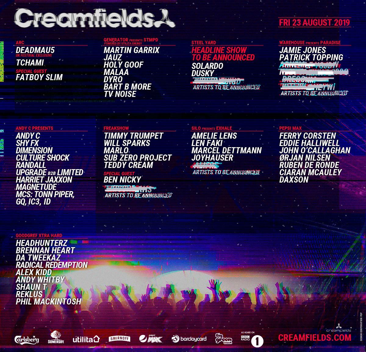 Creamfields 2019 Lineup - Friday