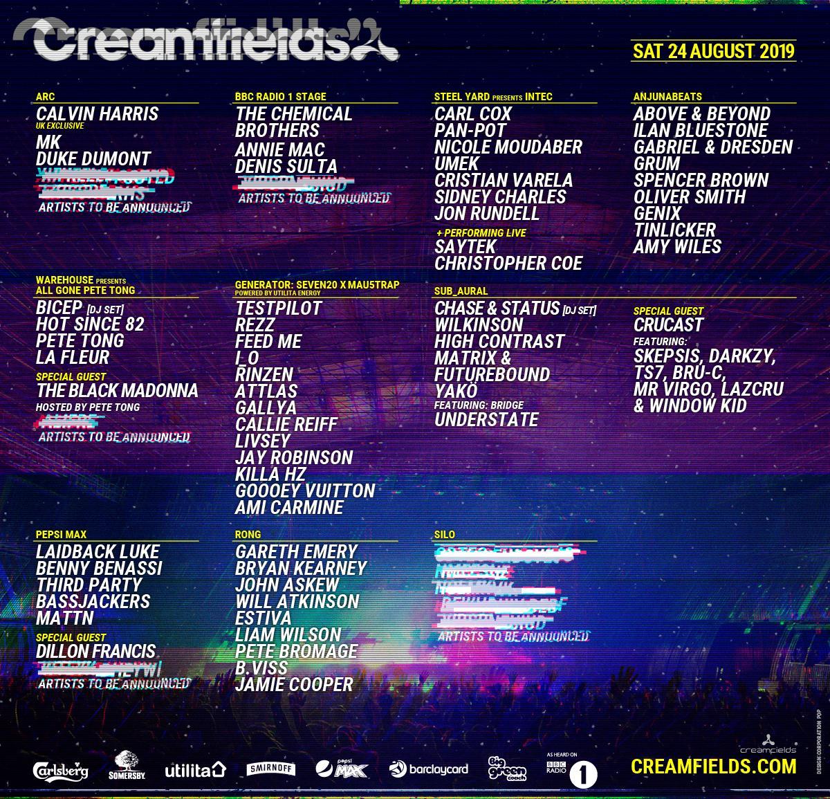 Creamfields 2019 Lineup - Saturday