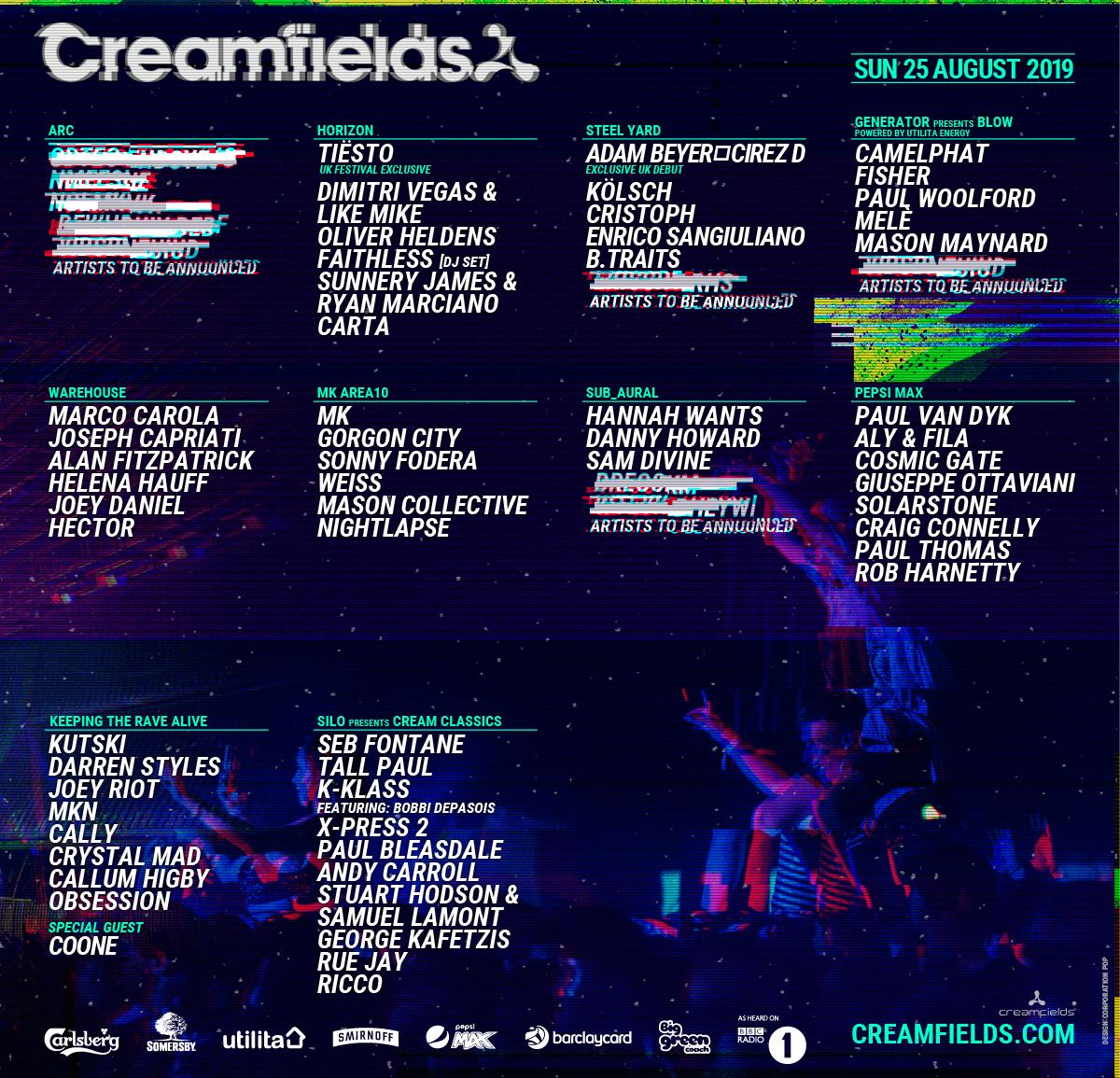 Creamfields 2019 Lineup - Sunday