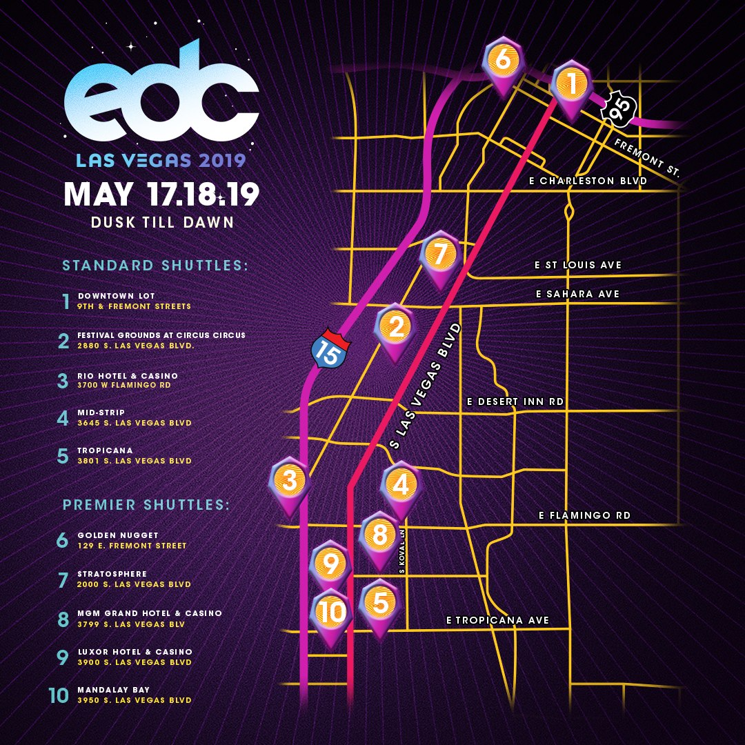 EDC Las Vegas 2019 Shuttle Stops and Routes