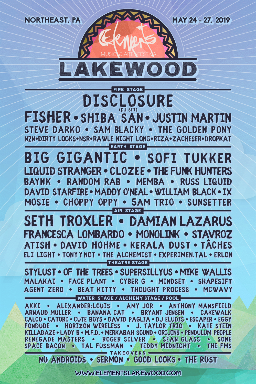 Elements Lakewood 2019 Lineup