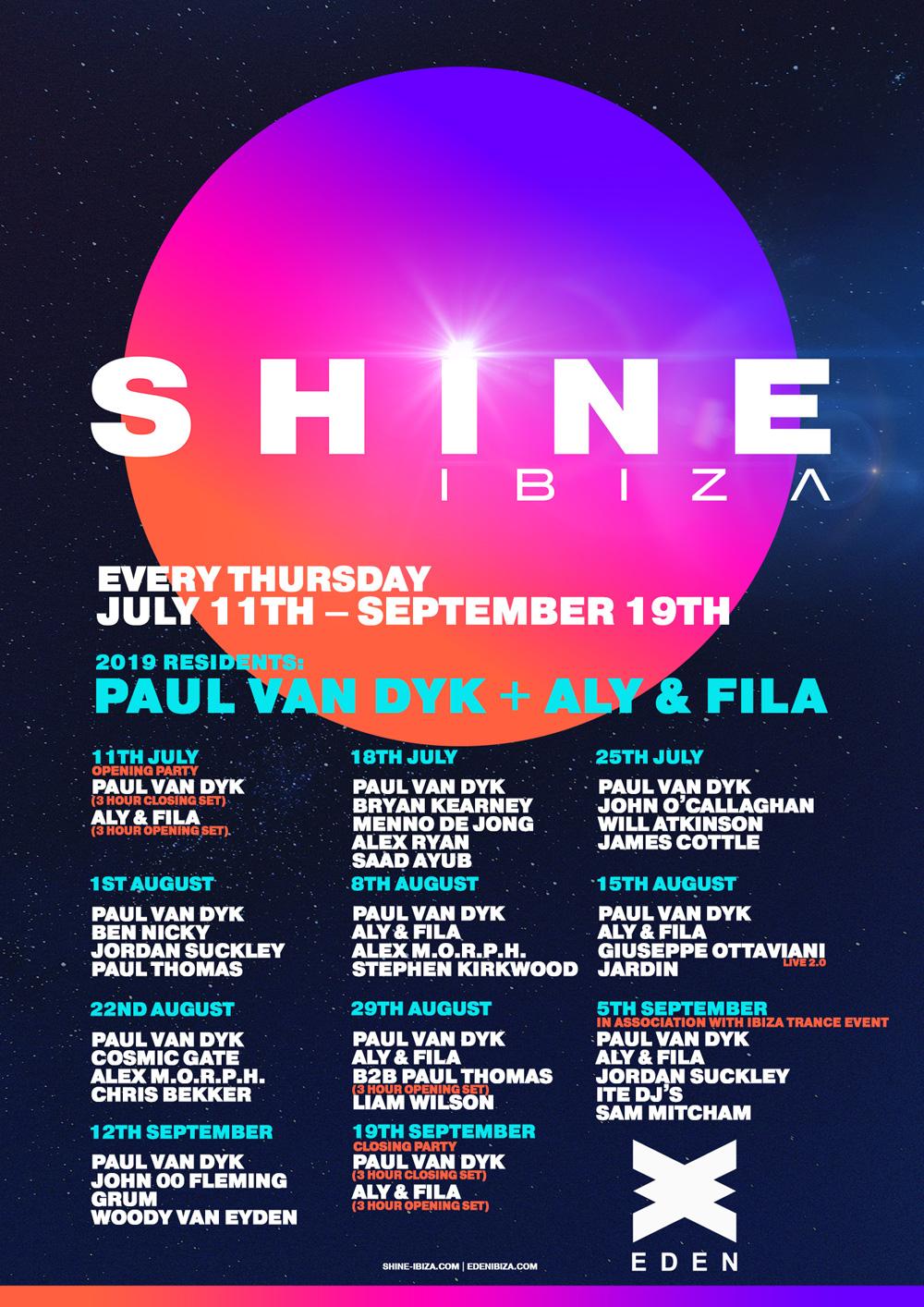 SHINE Ibiza 2019 Dates and Lineups