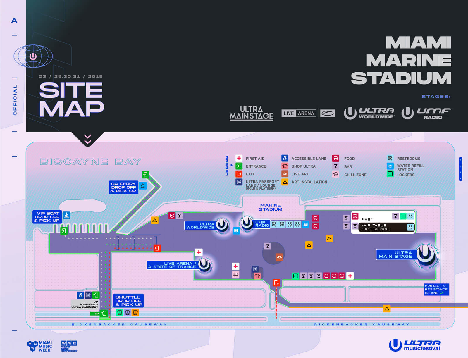 Ultra Music Festival 2019 Festival Map