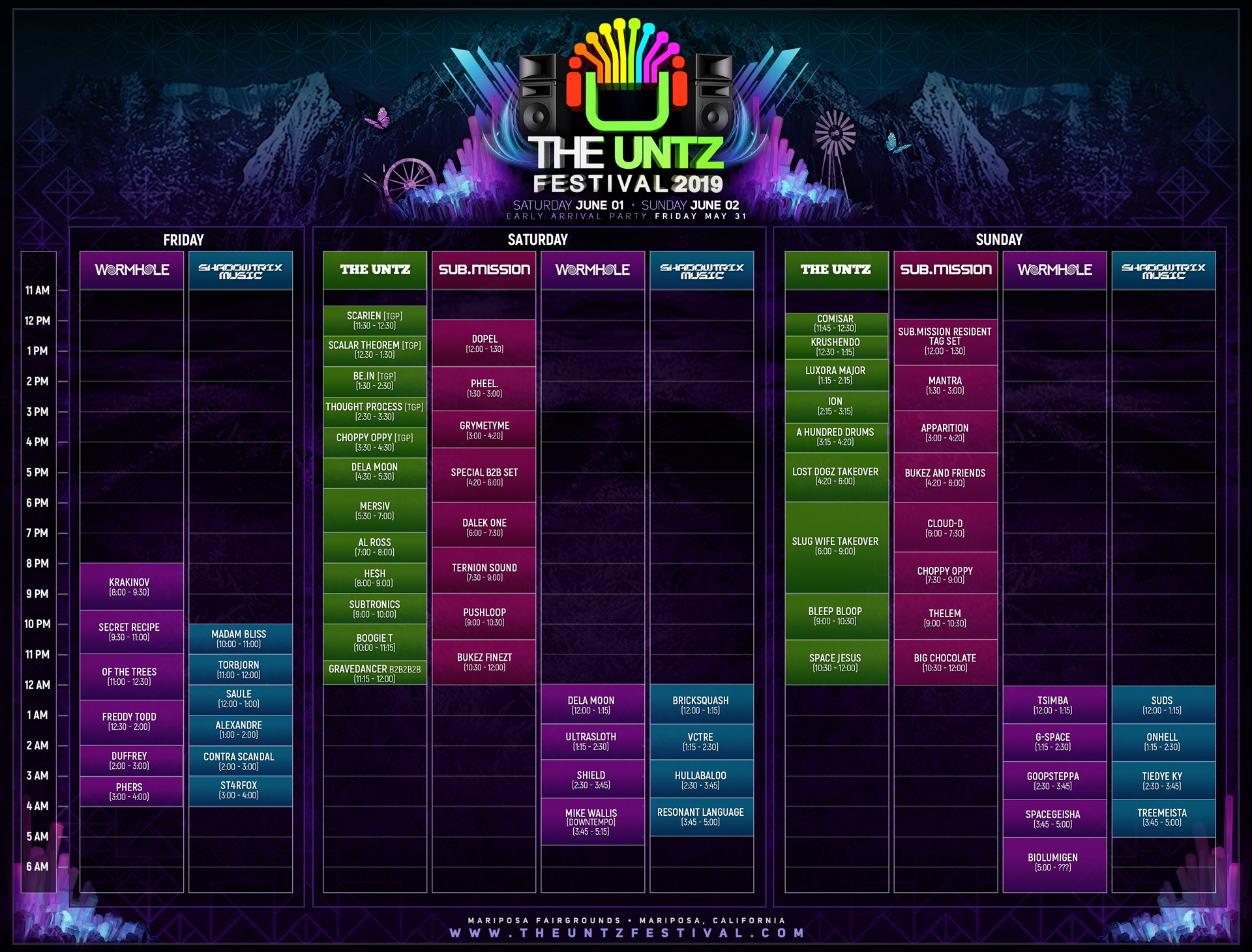 The Untz Festival 2019 Set Times