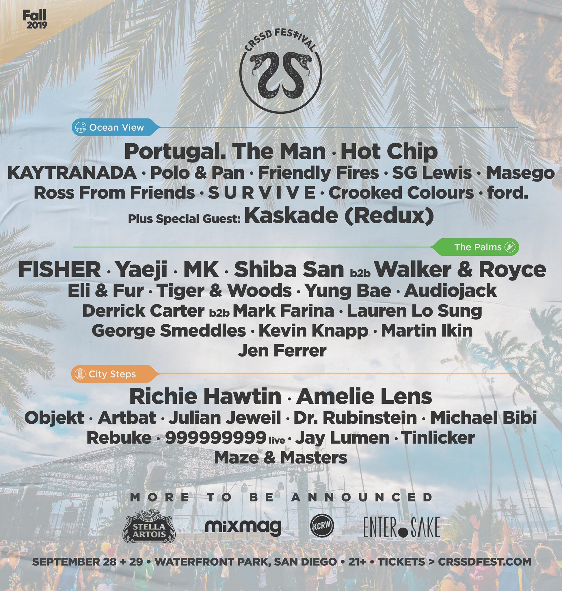 CRSSD Festival Fall 2019 Phase One Lineup