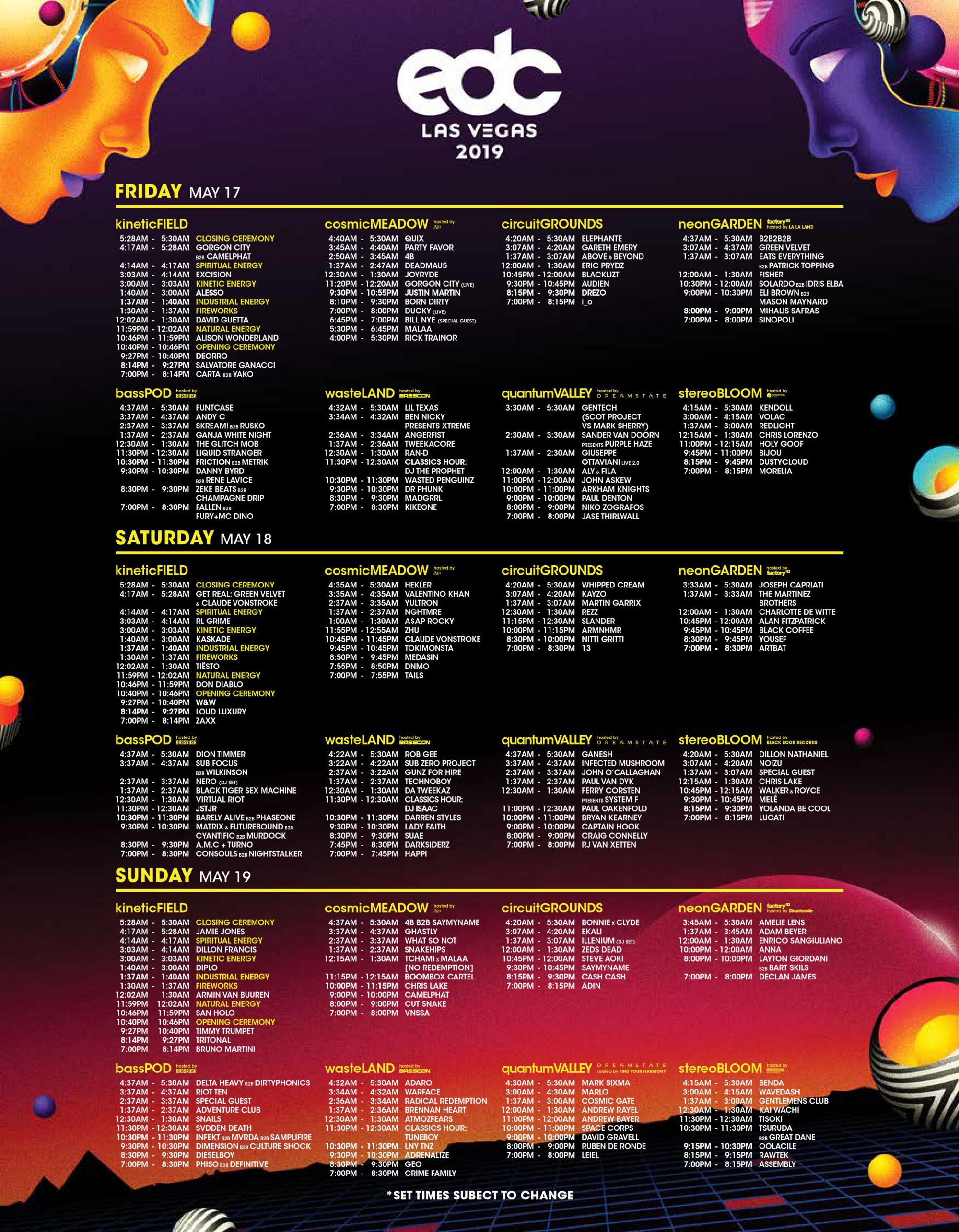 EDC Las Vegas 2019 Set Times
