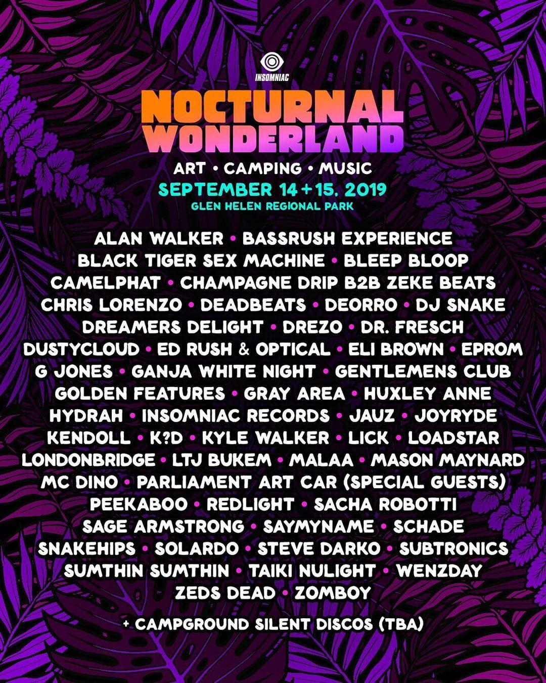 Nocturnal Wonderland 2019 Lineup