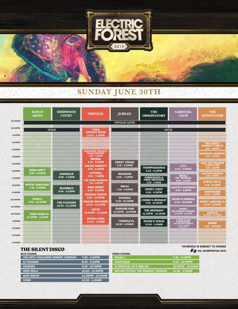 Electric Forest 2019 Set Times Saturday