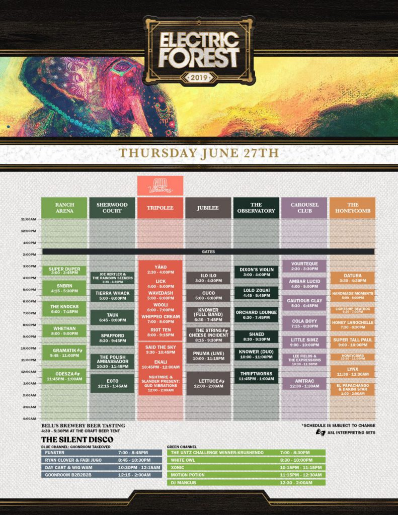 Electric Forest 2019 Set Times Thursday