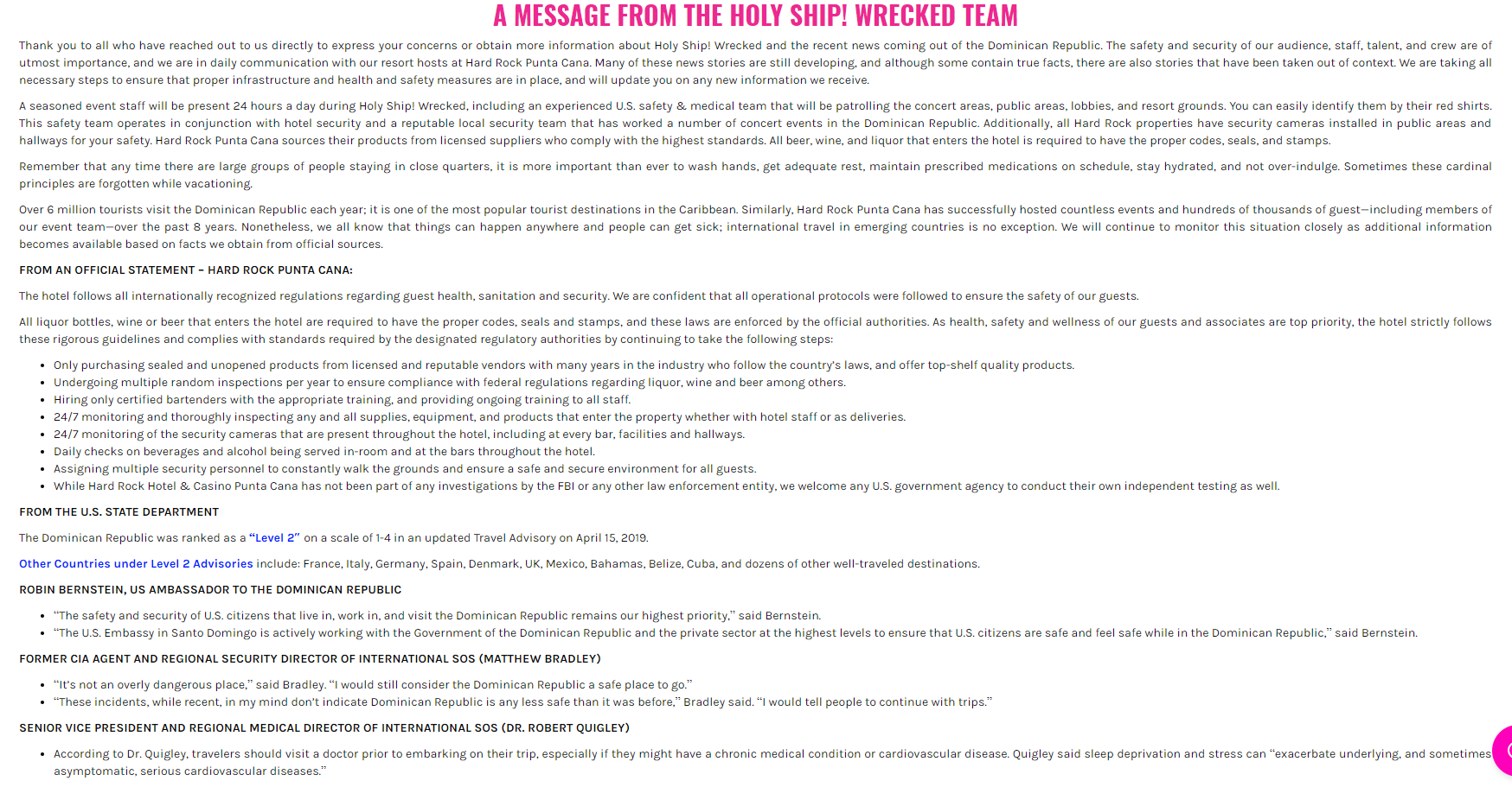 Holy Ship Wrecked Statement