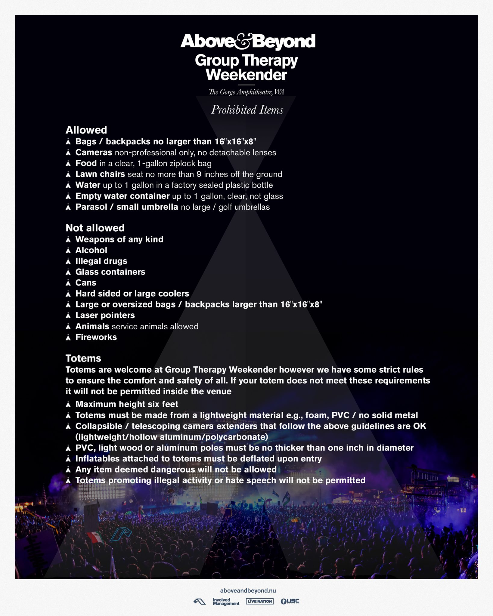 Group Therapy Weekender 2019 Prohibited Items