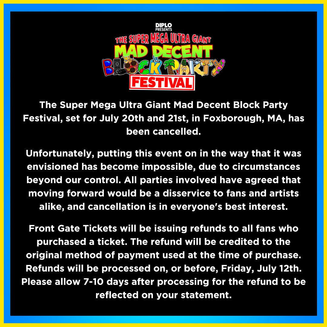 Super Mega Ultra Giant Mad Decent Block Party Canceled