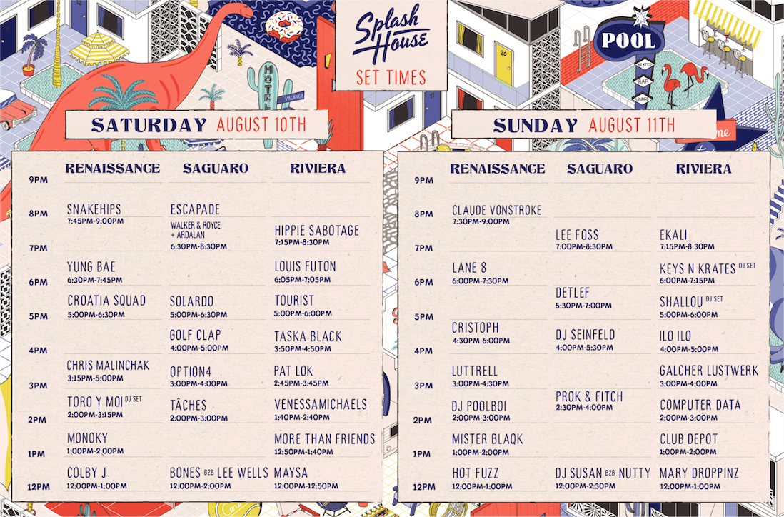 Splash House August 2019 Set Times