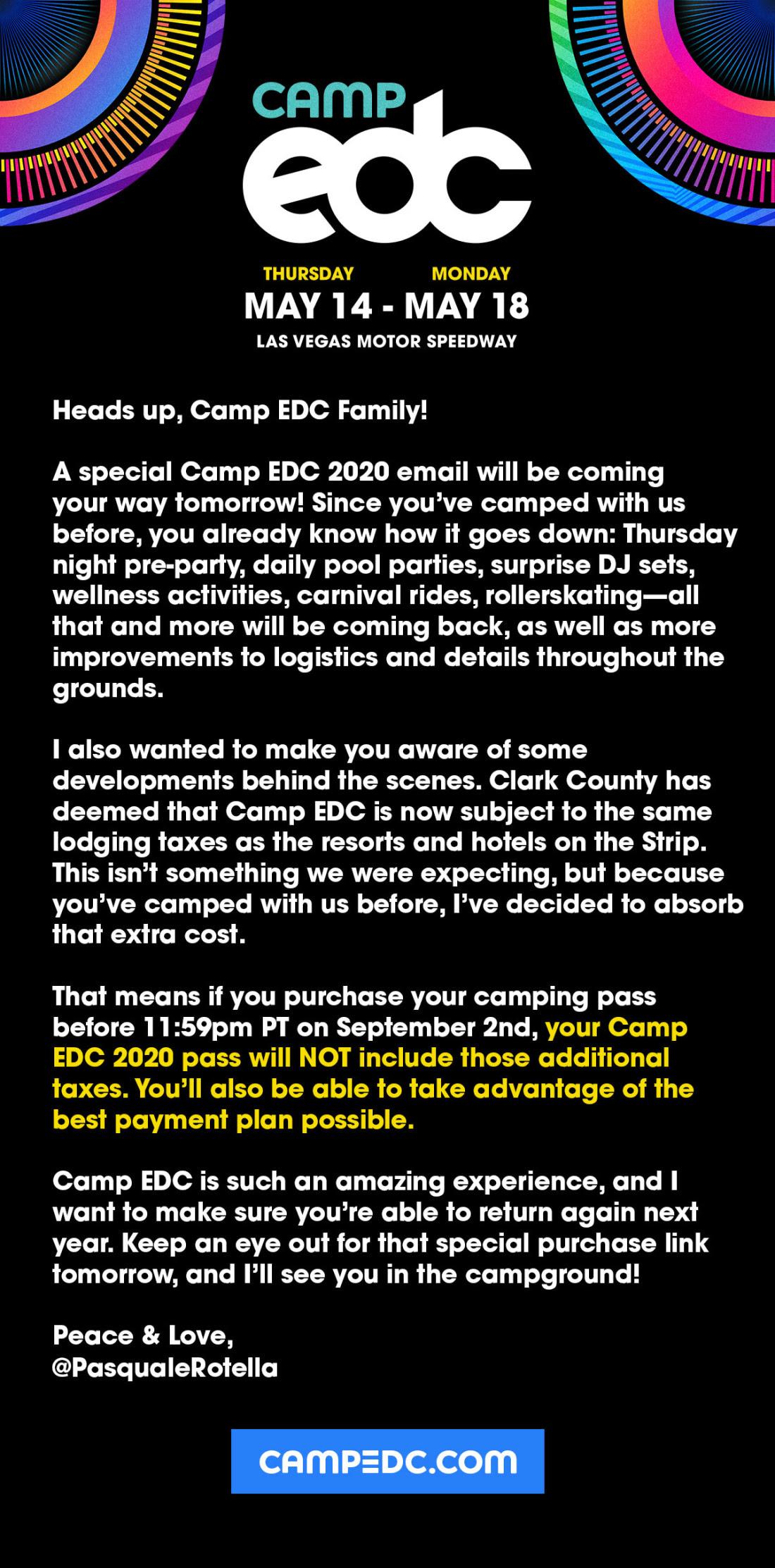 Camp EDC Taxes