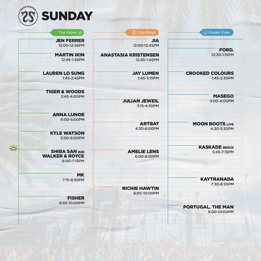 CRSSD Festival Fall 2019 Set Times - Sunday