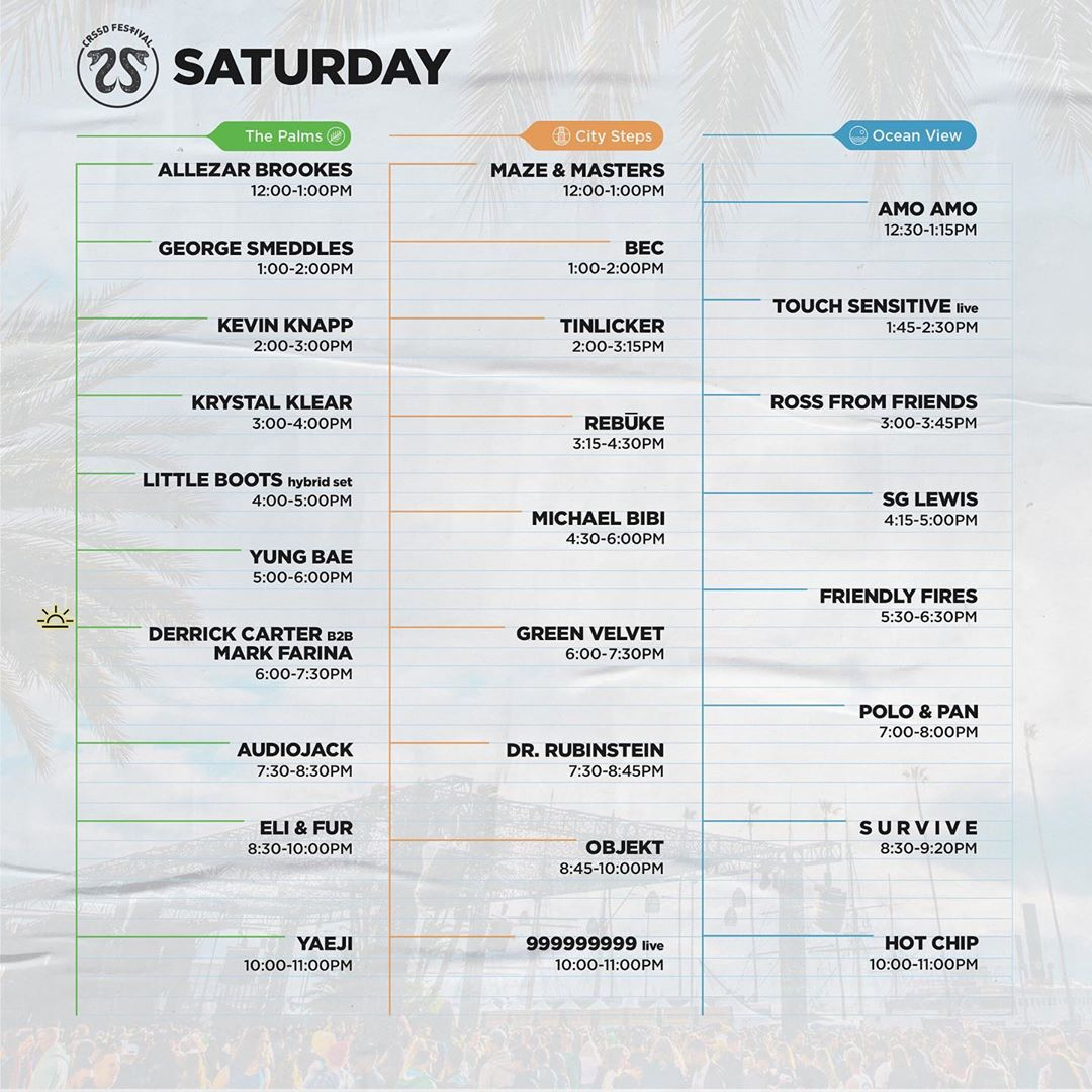 CRSSD Festival Fall 2019 Set Times - Saturday