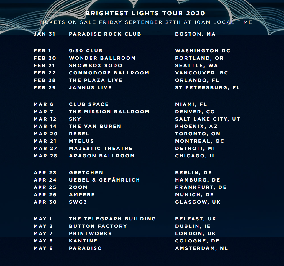 Brightest Lights Tour Dates and Venues