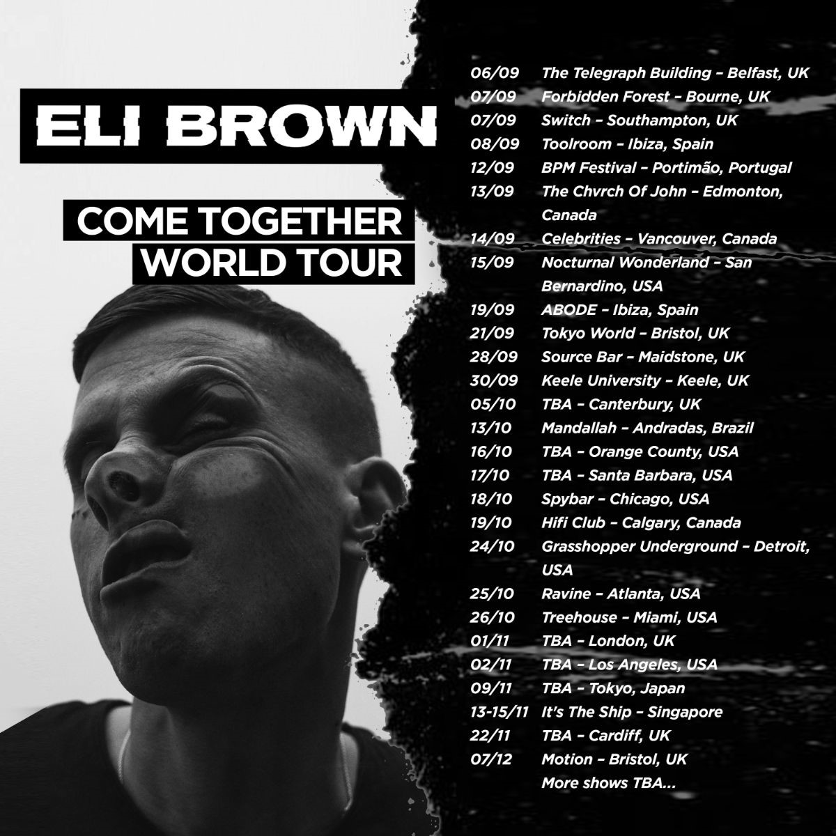 Eli Brown Come Together World Tour Dates