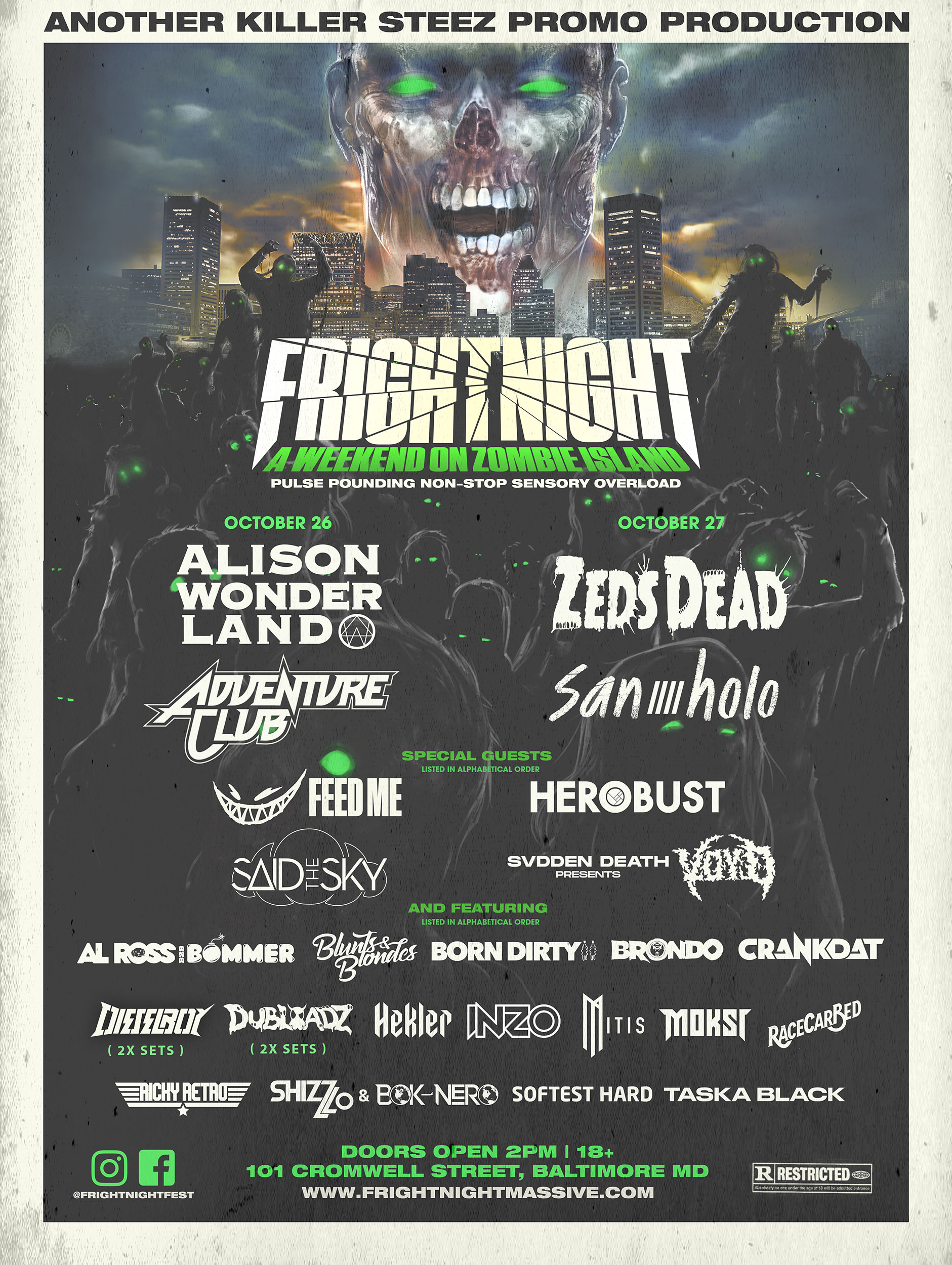 Fright Night Massive 2019 LIneup