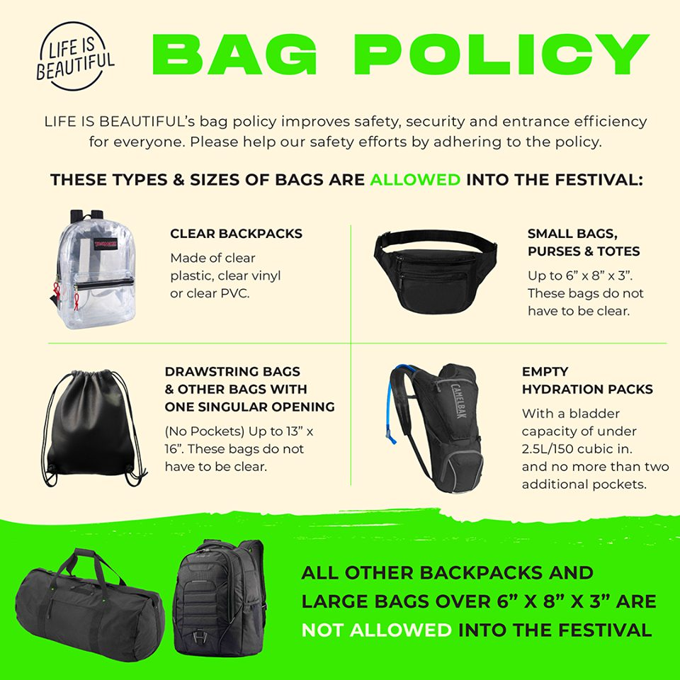 Life Is Beautiful Bag Policy