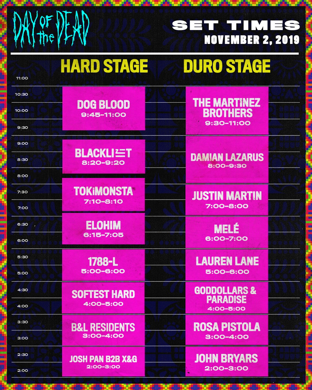 HARD Day of the Dead 2019 Set Times