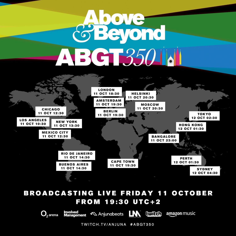 ABGT350 Live Stream Start Time Cheat Sheet